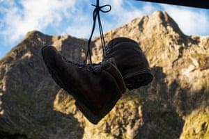 Boots hang outside Mintaro Hut.