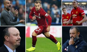 Pep Guardiola, Xherdan Shaqiri, Anthony Martial, Nuno Espírito Santo and Rafael Benítez.