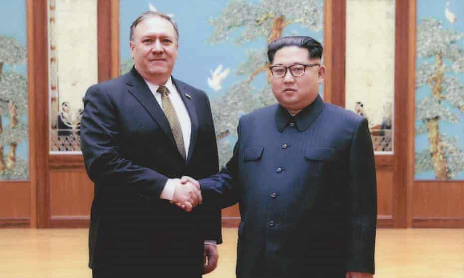 The White House released pictures of Mike Pompeo and Kim on Thursday. The pictures were taken during Pompeo's Easter visit.