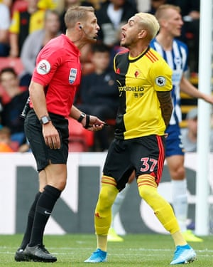Watford's Roberto Pereyra gets up close with referee Craig Pawson looking for a VAR check for an alleged handball as Brighton win 3-0 away at at Vicarage Road. Watford have lost three consecutive home league games for the first time since December 2013 in the Championship, when they suffered five consecutive defeats.