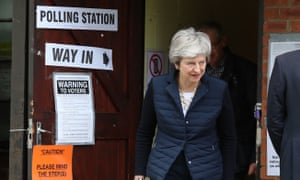 Theresa May leaves after casting her vote at a polling station near her home in her Maidenhead constituency.