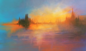 Fantasy landscapes … a detail from Castle in the Sunset by Ron Wheeler.