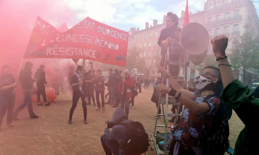 People demonstrate in Lyon against the French government's proposed labour reforms.
