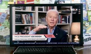 A screen grab of Joe Biden as he holds a virtual town hall with coronavirus pandemic frontline workers from his home in Wilmington, Delaware, this week.