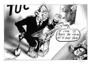 """""""I come to praise the Unions, not to bury them"""" - published Independent, 11 September 2001 Peter Schrank depicts Prime Minister Tony Blair addressing the Trades Union Congress. In comparing him to Mark Antony in Julius Caesar, Shrank suggests that Blair is saying one thing but meaning something else. His falseness is emphasized in the cartoon by the shovel that he is hiding and the Fat Cat looking on. Blair was due to address the TUC on 11 September 2001, but his speech was cancelled as events at the World Trade Centre in New York unfolded"""