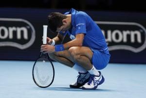 Novak Djokovic looks forlorn.