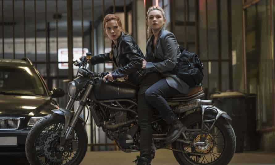 Scarlett Johansson, left, and Florence Pugh in Black Widow.