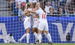 England players celebrate after a goal against Norway