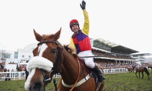 Richard Johnson celebrates after wining the Gold Cup at the Cheltenham Festival on Native River.