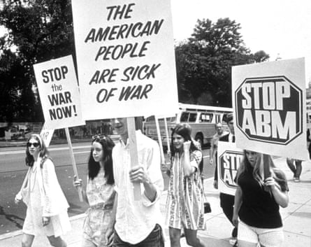 Students march with anti-war placards on the campus of the University of California at Berkeley in 1969.
