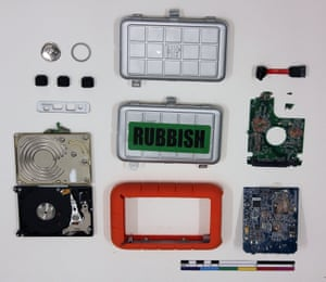 This destroyed external hard drive once contained secret NSA files leaked to the Guardian by Edward Snowden. The computers were destroyed at the newspaper's offices in London on 20 July 2013, at the the instruction of the UK government. (GNM Archive ref: GUA/12/5/1/2)