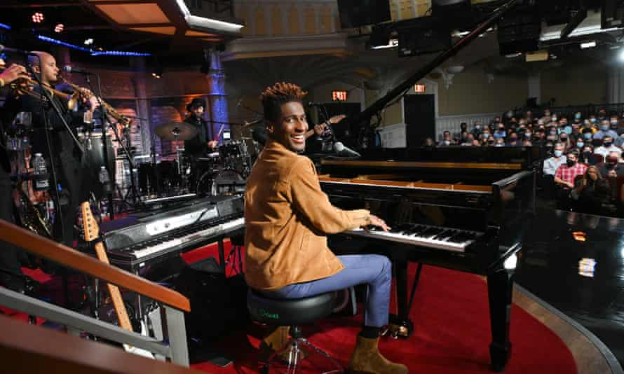 Piano man ... Batiste on The Late Show with Stephen Colbert.