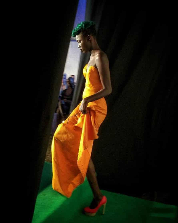 Model backstage during Dakar fashion week, June 2016