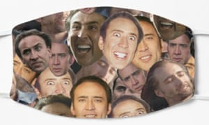 Nicolas Cage's collage t-shirt mask