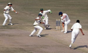 Andrew Flintoff is bowled by Danish Kaneria as Pakistan romp to victory in Lahore in 2005, the last time England played a Test in the country.