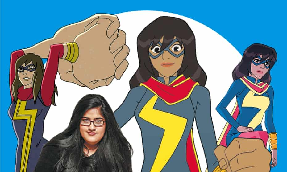 'What a gift' … Bisha K Ali with some of the cartoon versions of Ms Marvel.