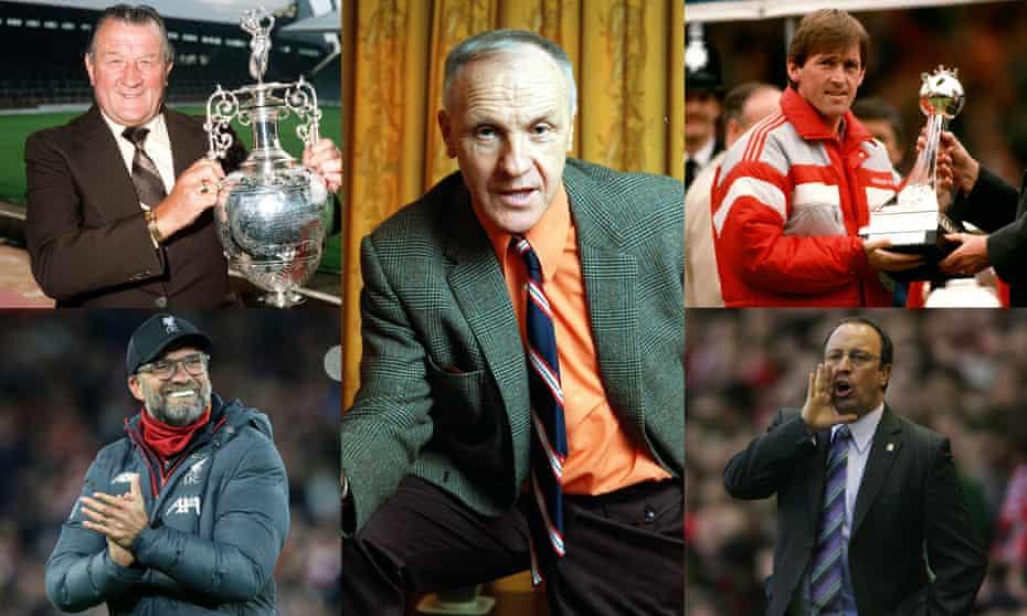Clockwise from top left: Bob Paisley, Bill Shankly, Kenny Dalgligh, Rafa Benítez and Jürgen Klopp.