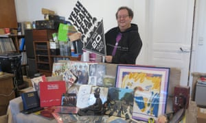 Jacques Volcouve with his Beatles collection last week.
