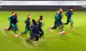 Tottenham players during training in Dortmund on Tuesday.