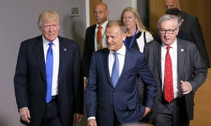 L to R: Donald Trump met EU leaders Donald Tusk and Jean-Claude Juncker in Brussels.