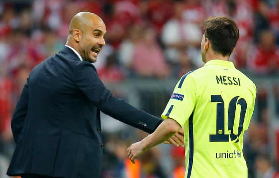 Lionel Messi with Pep Guardiola, during his spell as Bayern coach.