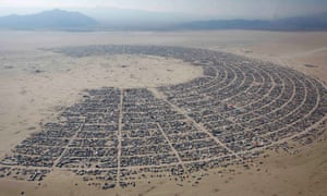 An aerial view of Burning Man, which takes place in the remote Black Rock desert of Nevada.