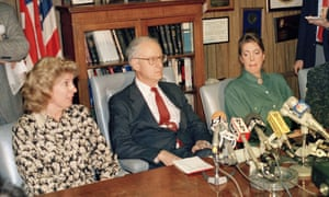Linda Fairstein, district attorney Robert Morgenthau and Ellen Levin, whose daughter was murdered in 1986, appear at a news conference in 1988.