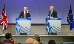 David Davis, left, and Michel Barnier give a press conference at the end of a meeting at the EU Commission in Brussels on 19 June 2017.