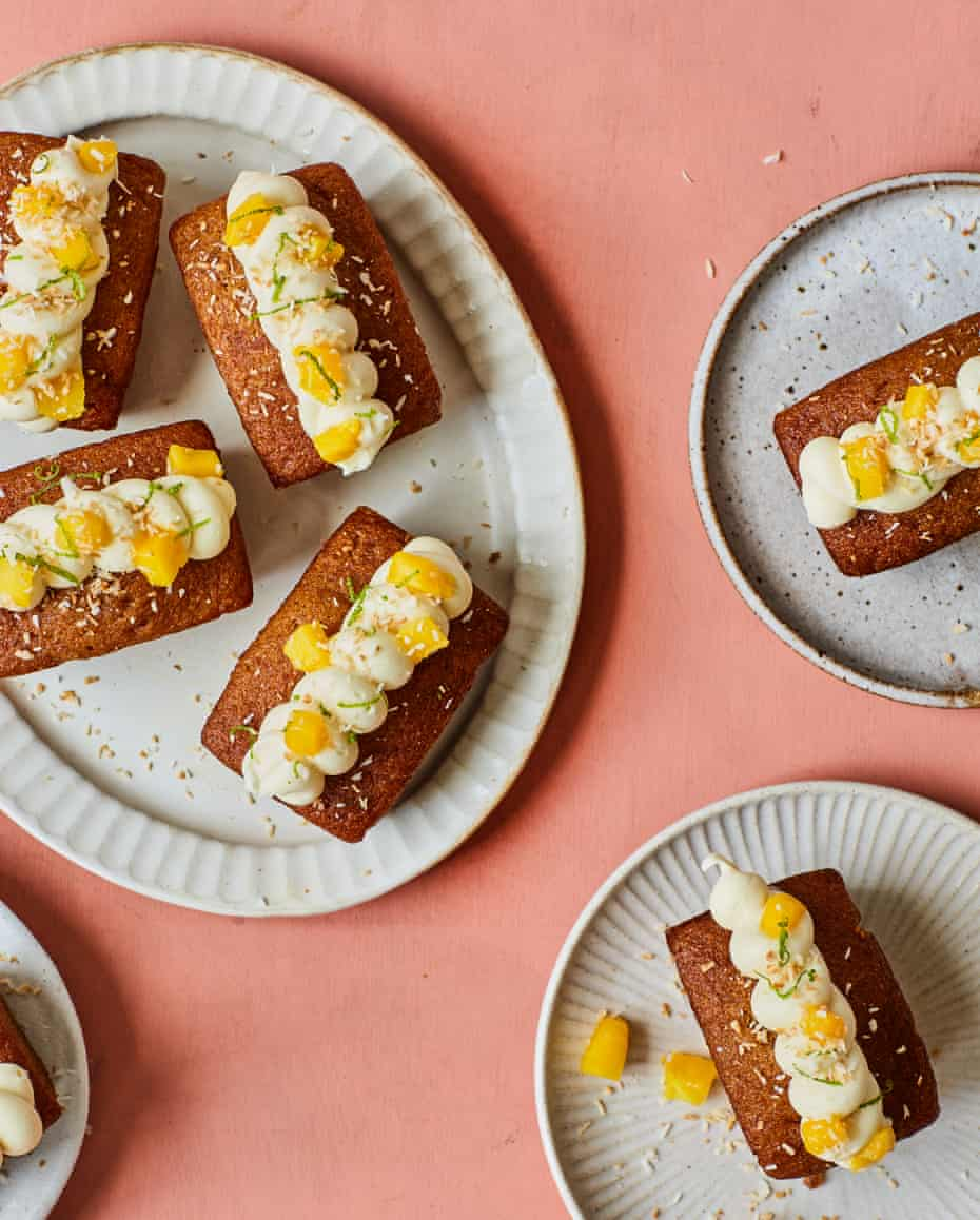 Liam Charles' mango coconut slices with a white chocolate ganache.