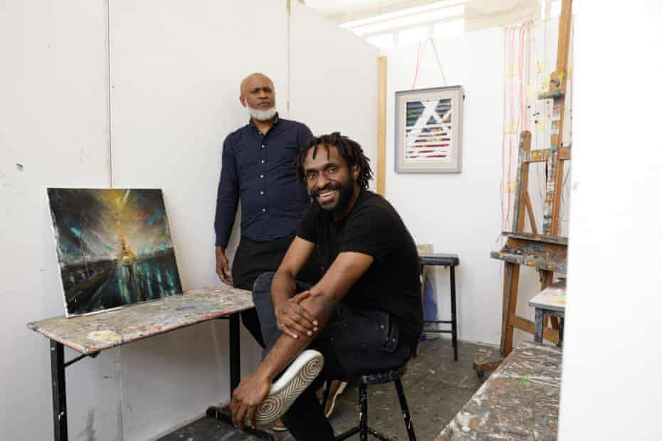 National Art School student Lesley Wengembo with campus assistant Mal Nabogi