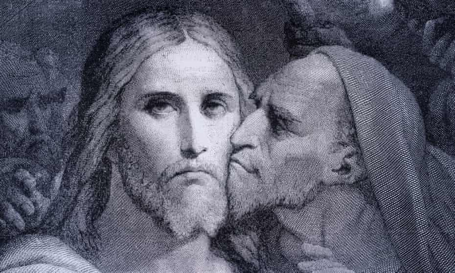 The Kiss. Judas Iscariot kisses Jesus Christ in the Garden of Gethsema.