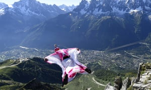 Géraldine Fasnacht jumps from the top of the Brevent mountain in her 'wingsuit'.