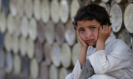 A young boy at a camp in Sana'a for people displaced by the conflict in Yemen