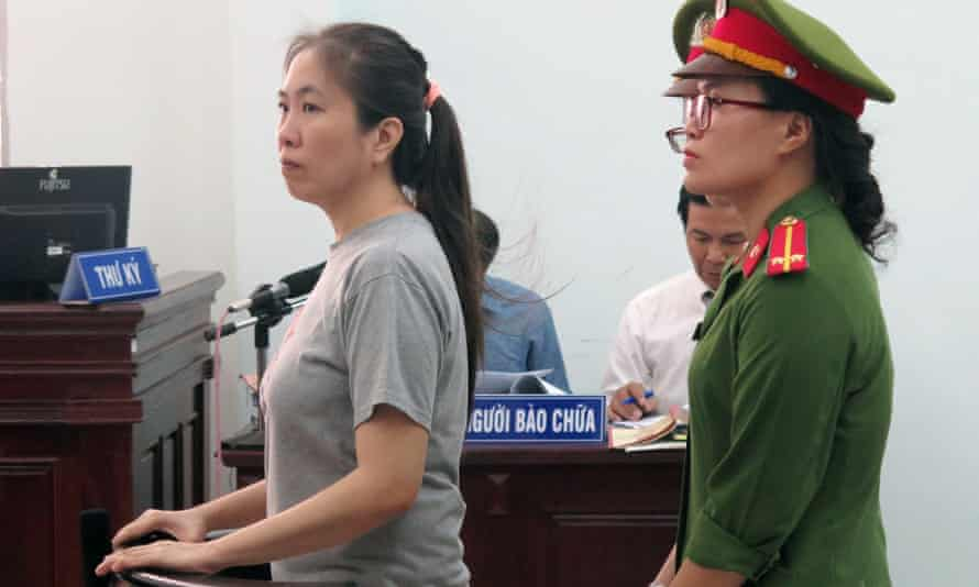 Vietnamese blogger Nguyen Ngoc Nhu Quynh, known as Mother Mushroom, on trial in the city of Nha Trang.