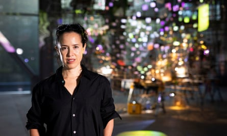 Constructive period … Sarah Sze in Paris with her installation, Twice Twilight, from her show Night Into Day.