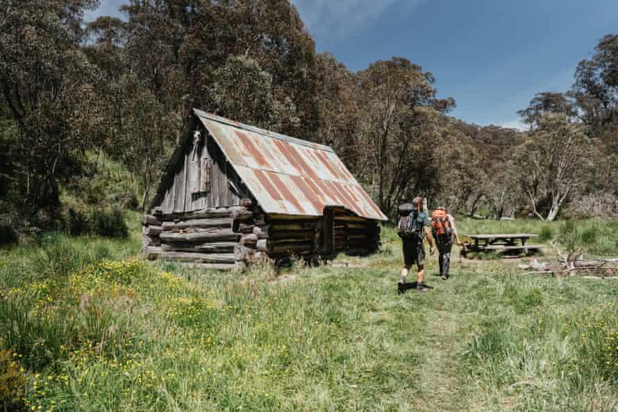 Dibbins Hut, a cabin by the creek on the Hotham Alpine crossing.