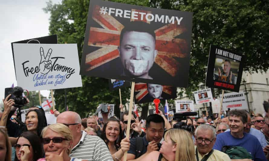 Supporters of Tommy Robinson protest in central London in June after he was jailed for contempt of court