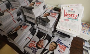 Campaign pamphlets supporting Manuel Valls, the former French prime minister, are stacked before distribution.