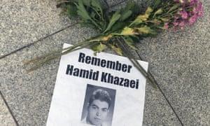 A small memorial to Hamid Kehazaei outside Brisbane magistrates court.