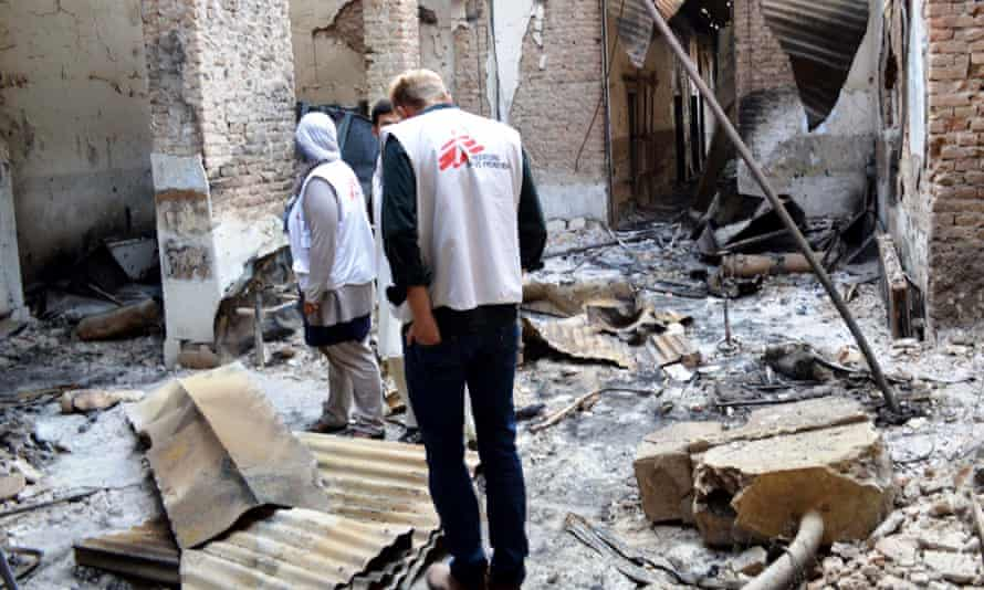 MSG staff explore the hospital building destroyed in a US airstrike in Kunduz