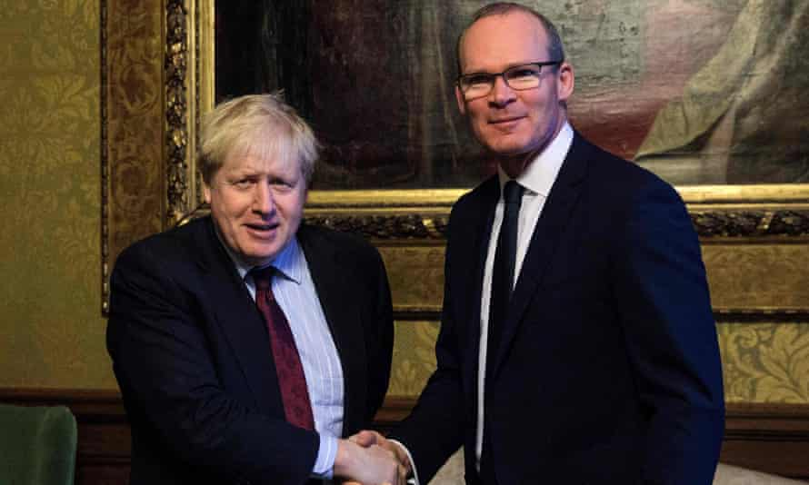 Boris Johnson (left), then foreign secretary, with his then counterpart Simon Coveney in January 2018.