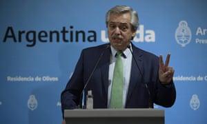 Argentina's president, Alberto Fernandez, addresses the nation on Thursday night.