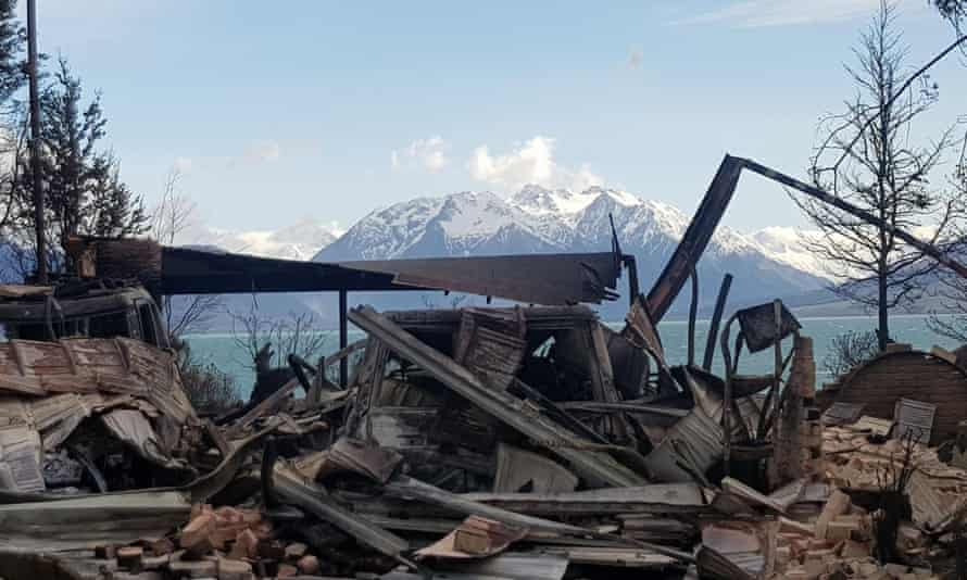 Damage caused by wildfires in Lake Ohau in October 2020