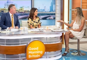 Bergdorf on ITV's Good Morning Britain with Piers Morgan and Susanna Reid