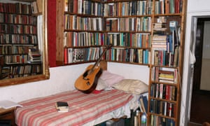 One of the bedrooms in the bookshop.