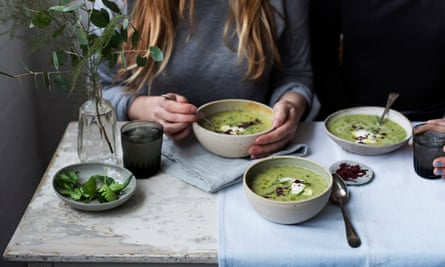 Spring herb and yoghurt soup