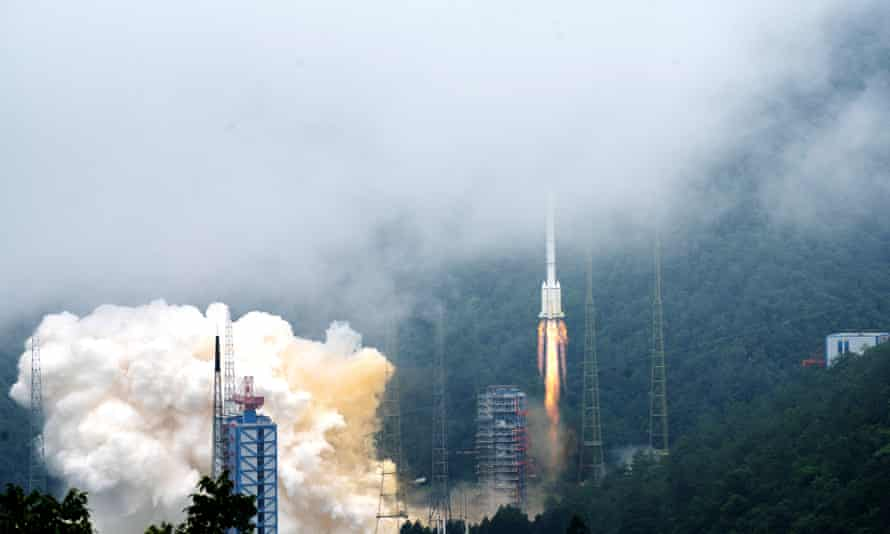 A rocket carrying the last satellite of the Beidou Navigation Satellite System blasts off in southwest China's Sichuan province.