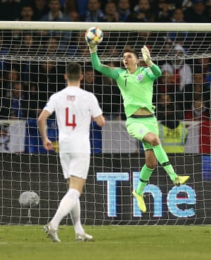 Nick Pope of England gathers the ball.