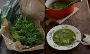 Rocket, leek and potato soup