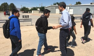 Beto O'Rourke greeted Fort Hancock high school students in Hudspeth county.